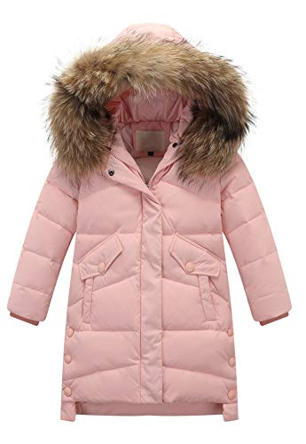 Jacket Animal Trim (Child Kid Girl Simple Solid Hooded Thick Winter Parka Mid Long Duck Down Puffer Padded Jacket Overcoat with Fur Trim(Style C Animal Fur Pink,Height 43.31