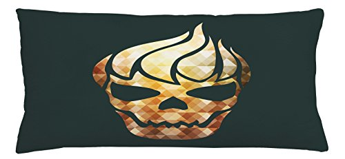 Ambesonne Modern Throw Pillow Cushion Cover, Gothic Skull with Fractal Effects in Fire Evil Halloween Concept, Decorative Square Accent Pillow Case, 36 X 16 Inches, Yellow Pale Caramel Dark (Halloween Dance Concept)