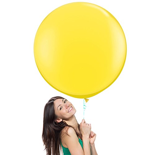 36 Inch (3 ft) Giant Jumbo Latex Balloons (Premium Helium Quality), Pack of 3, Regular Shape - Yellow, for Photo Shoot/Birthday/Wedding Party/Festival/Event/Carnival]()