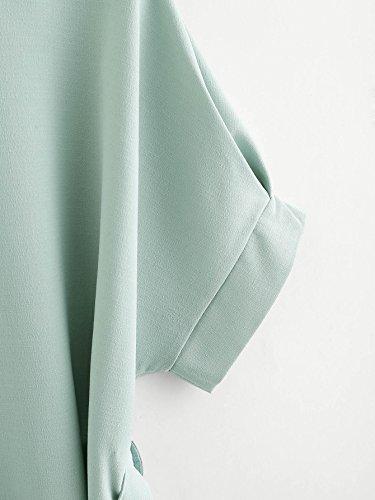b094f93bef Milumia Women's V Neckline Self Tie Short Sleeve Blouse Tops Mint Large