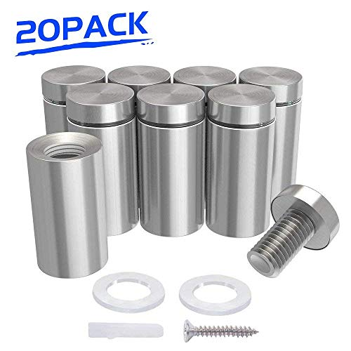 "1/2"" x 2"" Sign Standoffs Stainless Steel, Wall Standoff Screws Mount Advertising Nails for Glass, Set of 20 from LuckIn"