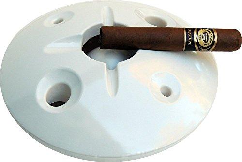 - Large 8 Inch Commercial Quality Melamine Windproof Ashtray - White
