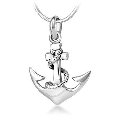 Amazon 925 sterling silver navy sailor ship anchor pendant 925 sterling silver navy sailor ship anchor pendant necklace 18 inch snake chain aloadofball Choice Image