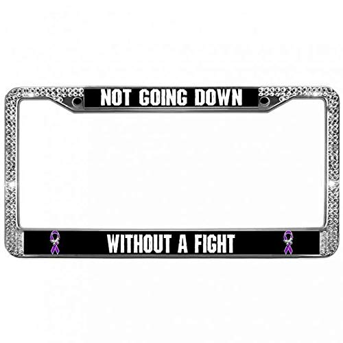 ken fi License Plate Frame Not Going Down Without A Fight Aluminum Metal License Plate Frame Bling Crystal Diamond License Plate Frame Holder with Screw Caps ()