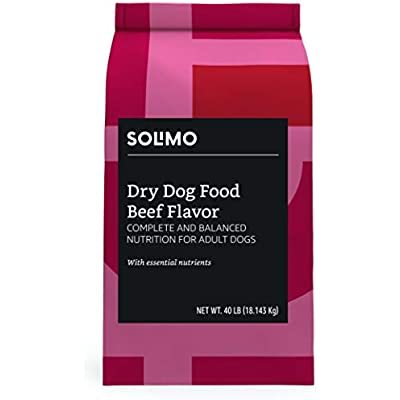 Amazon Brand - Solimo Basic Dry Dog Food with Grains (Chicken or Beef Flavor)