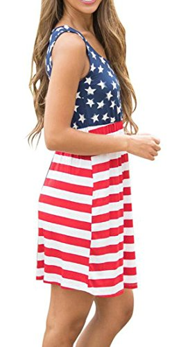 Vestito Stampata Fit Estate Maniche Cromoncent Womens Casuale Rosso Slim Bandiera Americana x0APIHTqw