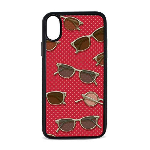 (Square Sunglasses Vintage Color Digital Print TPU Pc Pearl Plate Cover Phone Hard Case Cell Phone Accessories Compatible with Protective Apple Iphonex/xs Case 5.8 Inch)