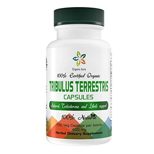 Organic Aura Tribulus Terrestris Capsules with Maximum Steroidal Saponins. Natural Energy Enhancer, Mood Support, Boosts Libido and Urinary Tract Protection. 100% Natural and Non-GMO.