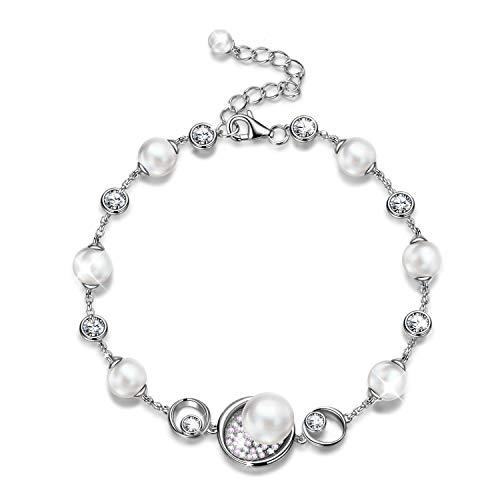 (NINASUN Women Pearl Bracelets Valentines Day Present Gifts for Women Her Wife s925 Sterling Silver Bracelet Swarovski Crystal Jewelry Birthday Gifts for Girlfriend Daughter Anniversary Gift for Women)