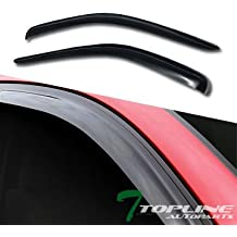 Topline Autopart Smoke Window Visors Deflector Vent Shade Guard 2 Pieces For 05-11 Dodge Dakota Club ( Extended ) Cab