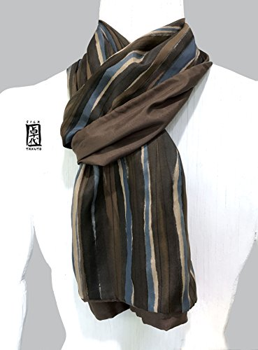 Silk Scarf Men, Hand Painted, Brown Scarf, Reversible Mens Silk Scarf, Zen Stripe, Reversible Scarf by Silk Scarves Takuyo