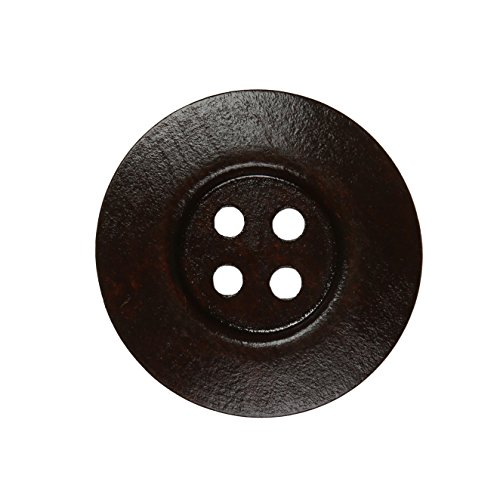 YAKA 30pcs Brown Round Wood Buttons 4 Holes,Craft Buttons for Sewing Clothing, Large Size 2Inch Sewing Buttons for Crafts (Style3)