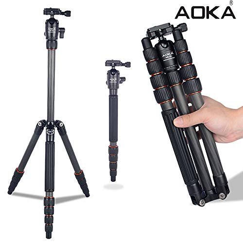 AOKA 54.7 inchs Carbon Fiber Compact Camera Tripod Monopod with 360 Degree Ball Head 1/4 inch Quick Shoe Professional Tripod Load up to 33 pounds.