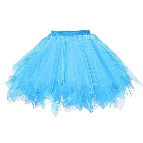(WUAI Womens 1950s Vintage Ballet Bubble Skirt Tutu Tulle Petticoat Ballet Bubble Skirts Short Prom Dress up (Sky Blue,Small/Medium))