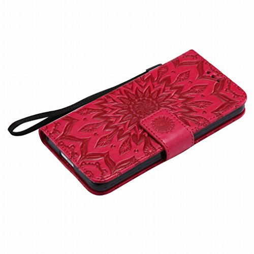 LEMORRY Huawei Honor 6 Custodia Pelle Cuoio Flip Portafoglio Borsa Sottile Bumper Protettivo Magnetico Morbido Silicone TPU Cover Custodia per Huawei Honor 6, Fiorire Rosso