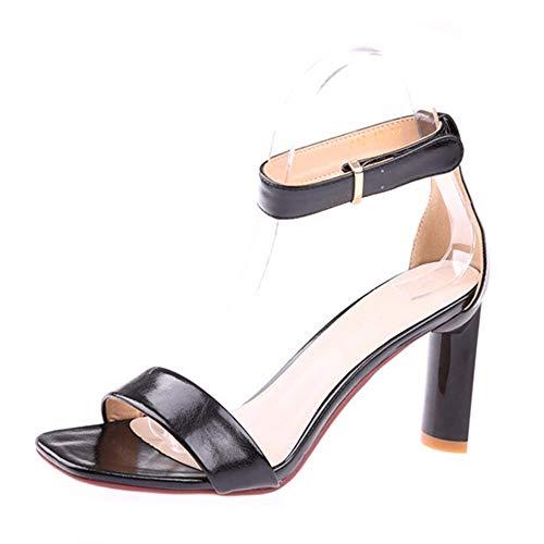 Las Abierta Punta Altos de Negro de Tacones de Sandalias Hueco Temperamento 34 Alto Moda YMFIE con la de Sexy Grueso Zapatos Trabajo señoras 39 EU de UE tacón de Verano qwBWx4Pg