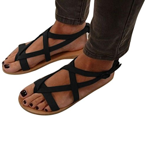 (KESEE 2018 Ladies Sandals Womens Flat Wedge Rome Tie up Sandals Platform Summer Shoes Casual Round Toe Fashion Sandals (US:9, Black))