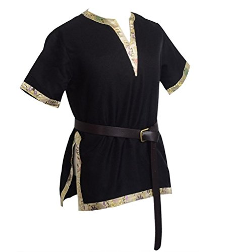 BLESSUME Medieval Viking Tunic Black LARP Aristocrat Chevalier Cosplay Costume