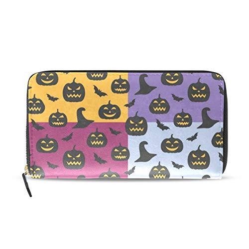 Womens Wallets Unique Witch Hat Pumpkin Bats Leather Passport Wallet Change Purse Zip Handbags ()