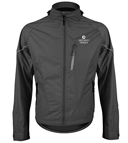 - AERO|TECH|DESIGNS Tall Man's Waterproof, Breathable, Windproof Cycling/Activewear Jacket (XX-Large, Black)