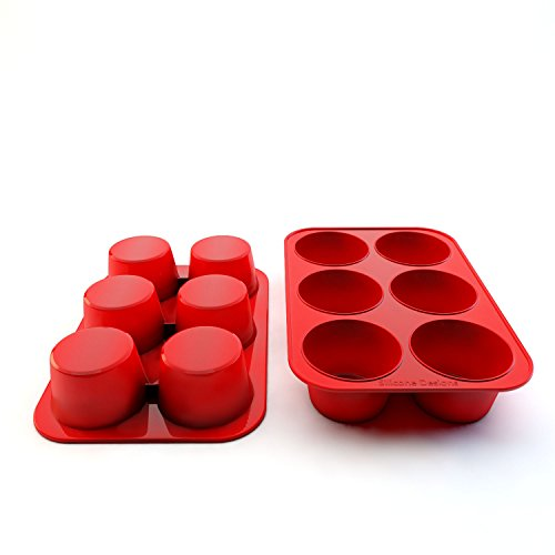 Silicone Texas Muffin Pans and Cupcake Maker, 6 Cup Large, Set of 2, Commercial Use, Plus Muffins Recipe Ebook by Silicone Designs (Image #7)