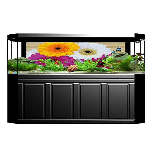 (Jiahong Pan Background Fish Tank Decorations Luck Note Gerbera Daisies Botanical Composition Fish Tank Backdrop Static Cling Wallpaper Sticker L29.5 x H21.6)