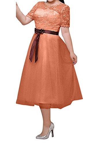 Damen Langarm Charmant Brautjungfernkleider Lang Abendkleider Uebergroesse Ballkleider Orange Elfenbein Spitze 1wqxx4dRO