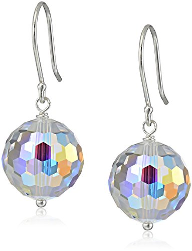 Faceted Sphere Swarovski Crystal (Sterling Silver and Swarovski Elements Crystal Aurora Borealis Drop Earrings)