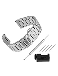 Bewish Fashion Stainless Steel Casual Watch Band Replacement JA026K Silver Band Bracelet Strap (Width: 14mm 17mm 19mm 21mm 22mm )