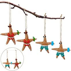 Beach Themed Christmas Ornaments 4 Pieces Christmas Beach Starfish Ornaments Starfish Couple Resin Decor Beach Themed Holiday Hanging Ornaments Christmas… beach themed christmas ornaments