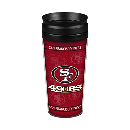 NFL San Francisco 49ers Full Wrap Travel Tumbler, 14-Ounce, Red