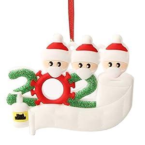 Hbsite Ornamento di Natale Ciondoli di Natale 2020 Quarantena Personalizzata Famiglia Ornamenti per L'Albero di Natale Decorazione Sopravvissuto Regalo Creativo Personalizzato (Famiglia di 3 Persone) 12 spesavip