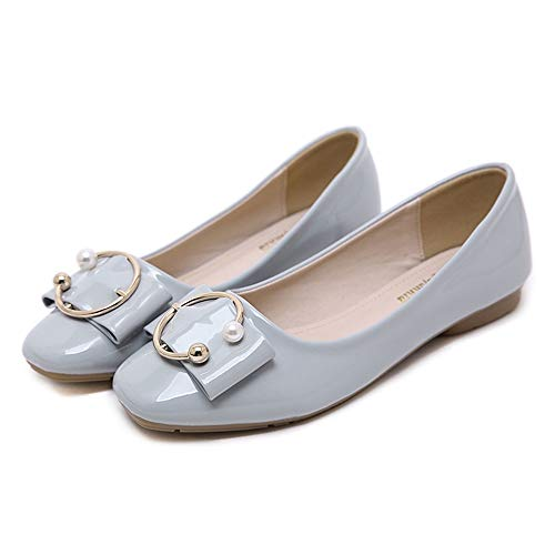 leather EU patent 40 spring ladies buckle Pearl shoes comfortable office shoes autumn flat shallow shoes fashion and work FLYRCX S4IqU