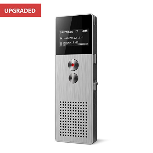 Digital Voice Recorder [32GB Expandable] Audio Activated Recorder with Microphone Noise Reduction and FM Radio, Sound Recorder Perfect for Recording Lectures, Conversation-by Lyker (Silver)