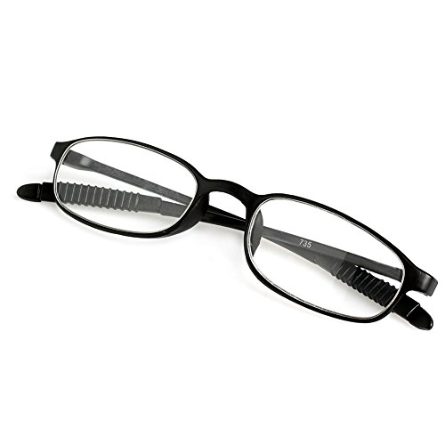 Doober TR90 Women Men Flexible Reading Glasses Readers Strength Presbyopic Glasses (Black, 2.0)