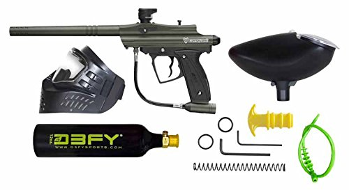 D3FY Conqu3st Semi Auto Paintball Marker Combo Kit, Olive Drub