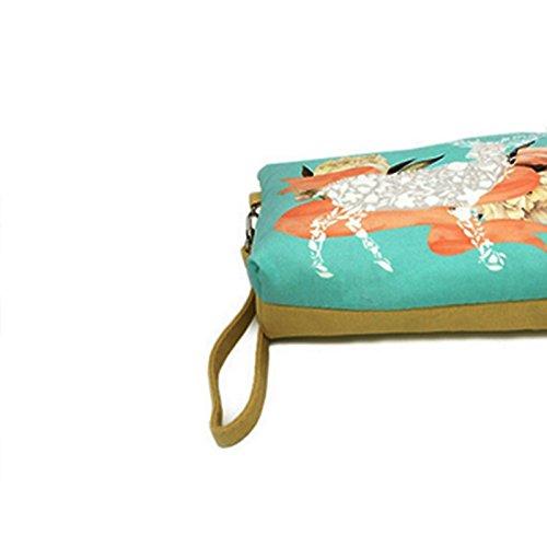 Qinlee Fleur et cheval Mini pochette Bourse Sac /à Main Petit Porte-monnaie des Cosm/étiques de Voyage Zipper Sac Pochette trousse scolaire Cas cl/é Sac de monnaie