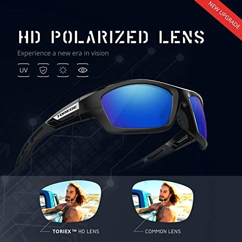 TOREGE Polarized Sports Sunglasses for Man Women Cycling Running Fishing Golf TR90 Unbreakable Frame TR07 Steath Man