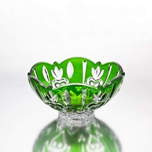 Footed Cut Glass - Fine Crystal Accent Bowl, Green