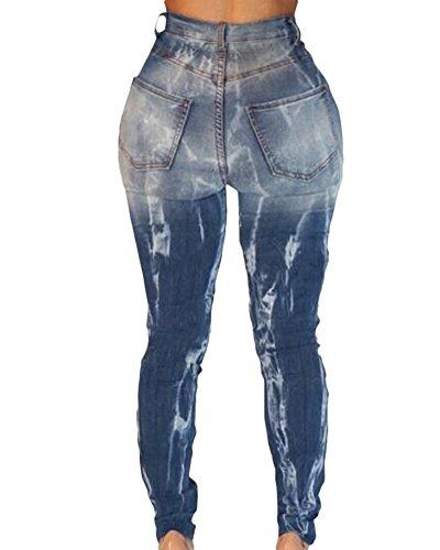 Denim Vita Pantaloni Alta Donna Come Matita Jeans Stirata Slim Immagine Fit 1qCZEwdEx