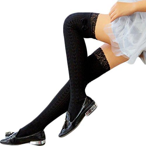 47604a0eadaf3 HITOP Women Schoolgirl Lace Trim Over Knee Socks Bowknot Thigh High Socks  for Winter