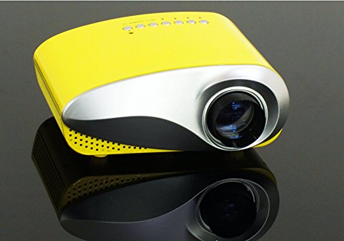 Aketek Newest Upgraded K10 LED Mini Portable Projector Pico Home Projector Cinema Theater PC & Laptop With HDMI TV Interface -Yellow