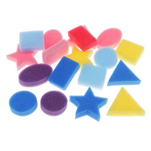 Fityle Set of 18 Pieces Sponge Painting Shapes Kids Geometric Shaped Sponge Stamper for Art Craft Painting - Square,Round,Triangle,Rectangle, Five-Point Star