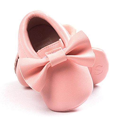 Voberry Baby Boys Girls Soft Soled Tassel Bowknots Crib Shoes (Pink Moccasin)