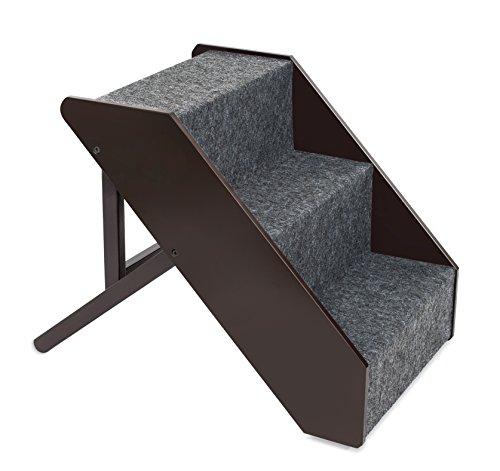 B01LZDTDRJ Internet's Best Adjustable Pet Steps | Decorative Wooden Folding Dog Step Ramp for Couch Bed Car | Soft Paw Friendly Carpet | 16-20 Inch | Espresso by B01LZDTDRJ
