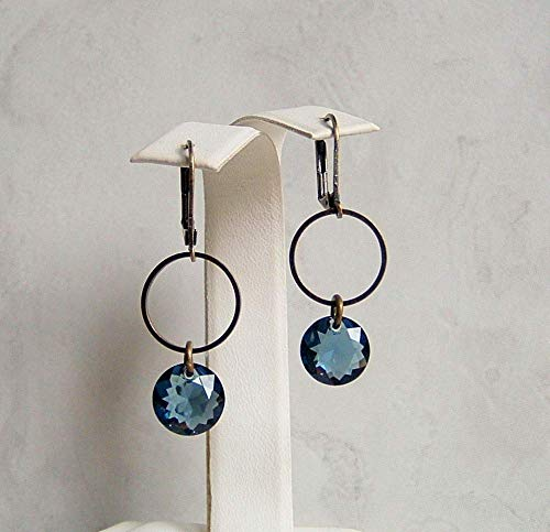 - Dark Montana Blue Round Made with Swarovski Crystal Circle Hoop Hypoallergenic Bronze Leverback Simple Drop Dangle Earrings Gift Idea