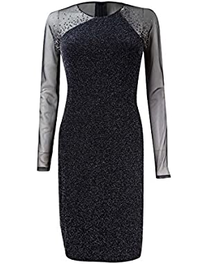 Women's Metallic Illusion Studded Sheath Dress