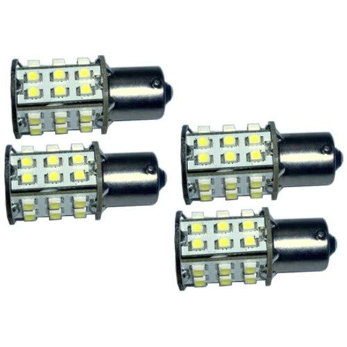 HQRP 4-Pack BA15s Bayonet Base 30 LEDs SMD 3528 LED Bulb Natural White for #93#1141#1156 RV Interior Ceiling Porch Lights Replacement + UV Meter