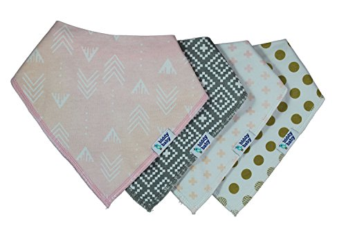 Biddy Baby Drooling and Teething Bandana Bibs 4 Pack Gift Set for Girls