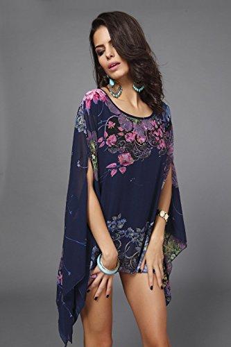 Chauve shirt Soie Femme Acvip Imprimé Plage De Mousseline Top Shirt Fleur En T Violet souris Blouse REv8nxv